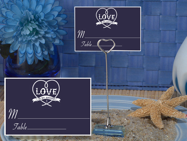 CH-9038-Metal Place Card Holder with Blue Anchored In Love Design Card