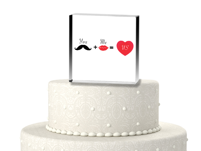 CTS9537-You plus me equals us cake topper