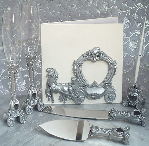 Our Elegant silver Wedding Coach wedding accessories set will add the perfect finishing touch to your special day. Each set comes with a Guest Book signing book, a set of 2 toasting flutes, a set of a cake and knife server and a resin pen holder with pen, each matching with a sculpted silver wedding coach design .  Each piece in this set comes in an individual gift box ready for gift giving.