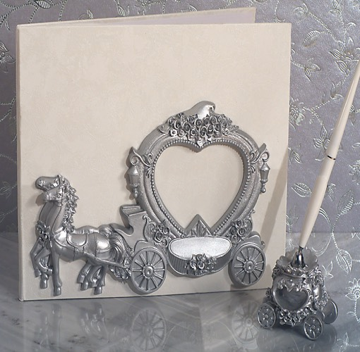 Our Elegant silver Wedding Coach wedding accessories set will add the perfect finishing touch to your special day. Each set comes with a Guest Book signing book and a resin pen holder with pen, each matching with a sculpted silver wedding coach design .  Each piece in this set comes in an individual gift box ready for gift giving.