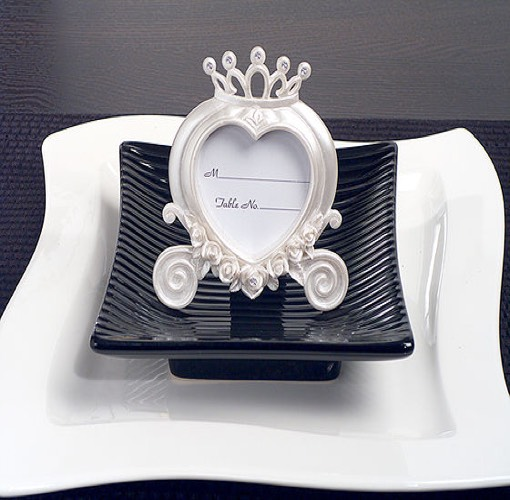 Heart Shaped Wedding Coach Place Card  Frame Pearl White. UNAVAILABLE