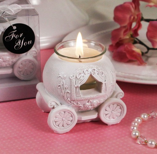 White Wedding Carriage Candle Holder. UNAVAILABLE DISCONTINUED
