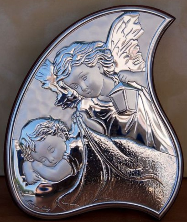 Guardian Angel Icon Italian 925 Silver Argento